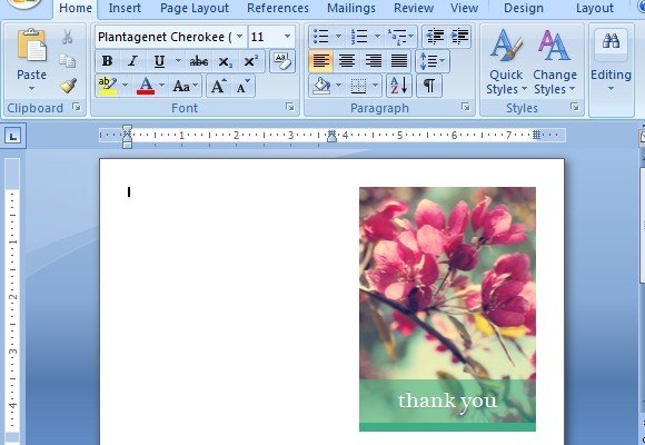 Beautiful Floral Themed Thank You Card Template For   Microsoft Thank You Card Template
