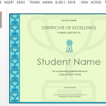 Templates certificate of excellence template for powerpoint yadclub Image collections