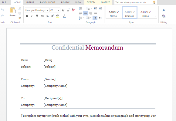 confidential memo word template