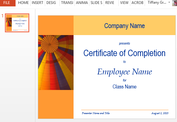 Certificate for training completion template for powerpoint easily create a certificate of completion in minutes yelopaper Choice Image