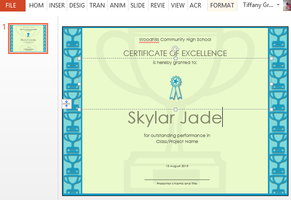 Of excellence template for powerpoint easily personalize to make the certificate template your yadclub Gallery