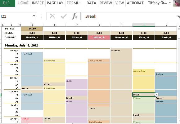 easily plot your employees weekly schedules