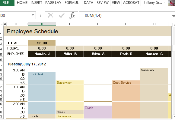 Employee Schedule Amp Hourly Increment Template For Excel
