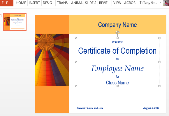 Certificate for training completion template for powerpoint follow the placeholders and guides to edit and toneelgroepblik Image collections