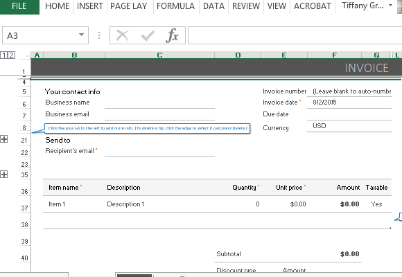 paypal invoicing template for excel