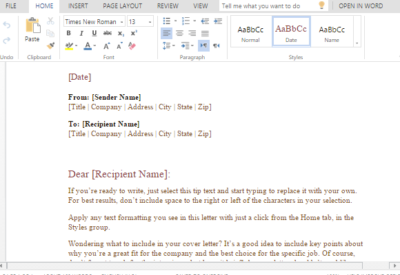 preformatted business letter template for word