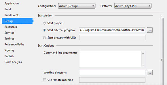 Change Debug options in VS2013 to run an external program