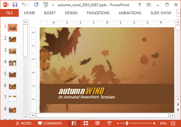 Animated autumn wind PowerPoint template