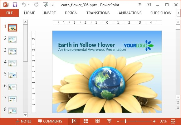 Animated earth flower PowerPoint template - FPPT