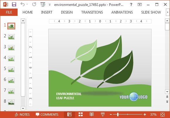 Animated Environmental Puzzle Powerpoint Template Fppt