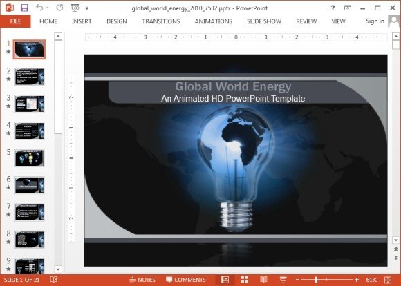 Animated Global Energy Powerpoint Template