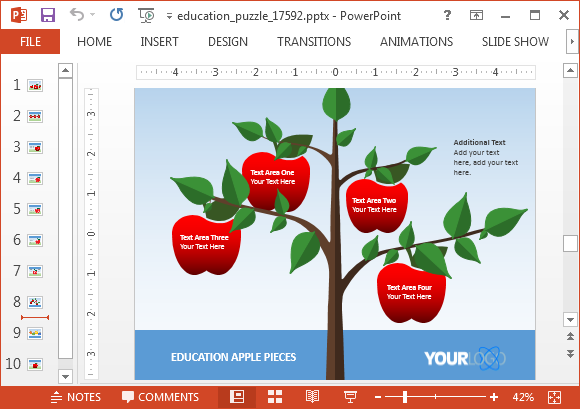 Animated education puzzle powerpoint template apple tree recolor apple illustrations within slides toneelgroepblik Images