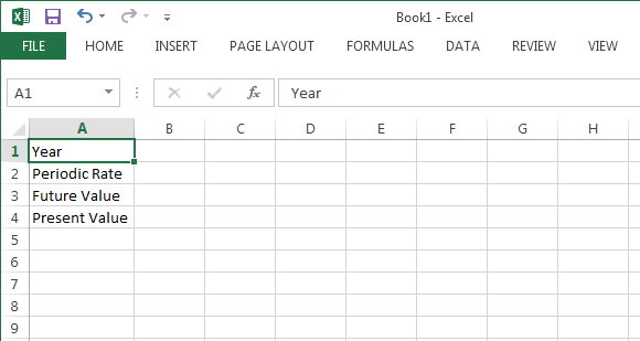 Present value calculation in MS Excel