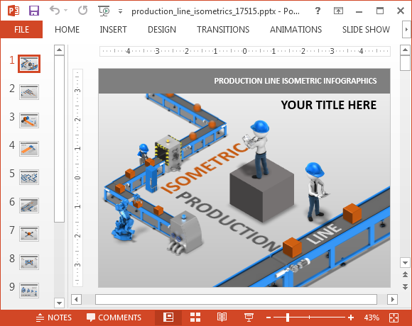 Production line isometric PowerPoint template