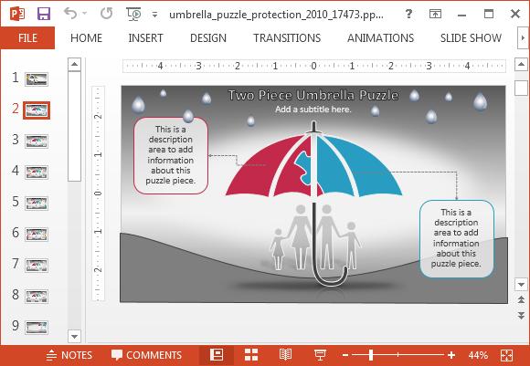Umbrella with textboxes