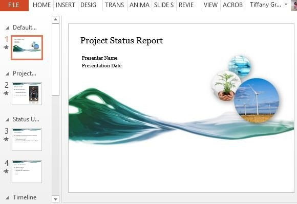 project status report powerpoint template, Modern powerpoint