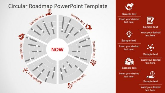 6 Circular roadmap PowerPoint template