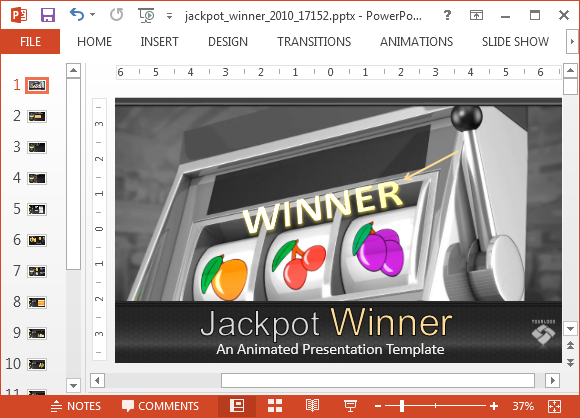 Animated jackpot PowerPoint template