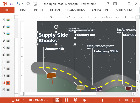 Animated timeline slide with storm animation
