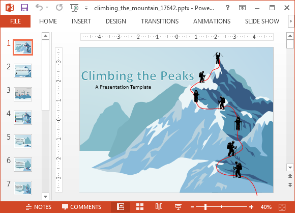 Animated climbing the mountain powerpoint templates climbing the mountain powerpoint template toneelgroepblik Choice Image