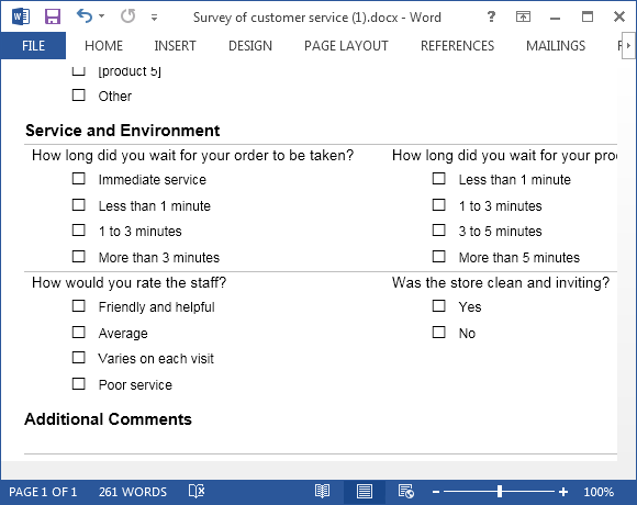 Free Survey Form Template For Word  Customer Survey Template Word
