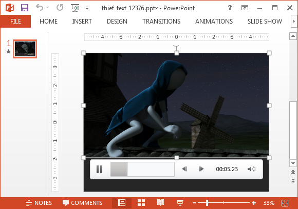 Thief text video background for PowerPoint
