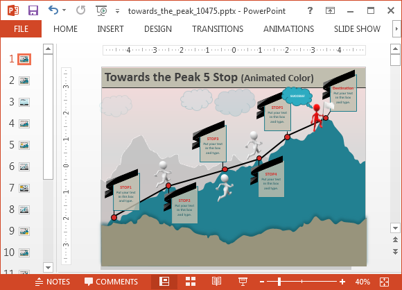 Animated climbing the mountain powerpoint templates towards the peak powerpoint template toneelgroepblik