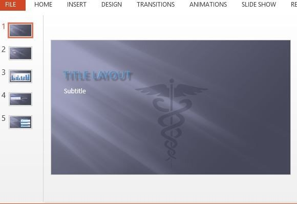 caduceus symbol medical powerpoint template, Modern powerpoint
