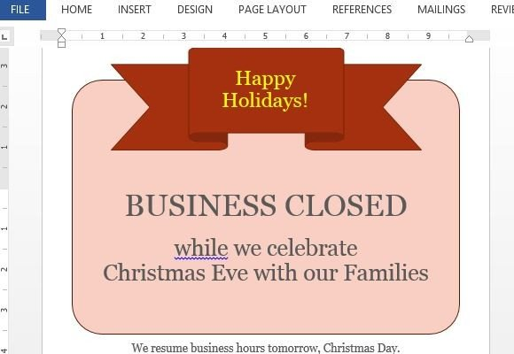 holiday closing signs templates Business Closed Sign Template For Word