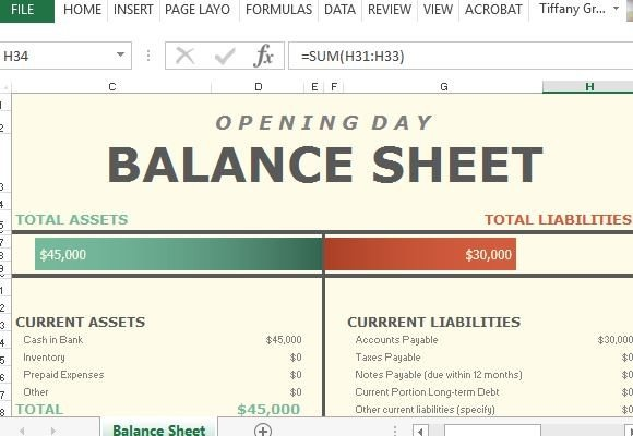 Opening day balance sheet for excel accmission