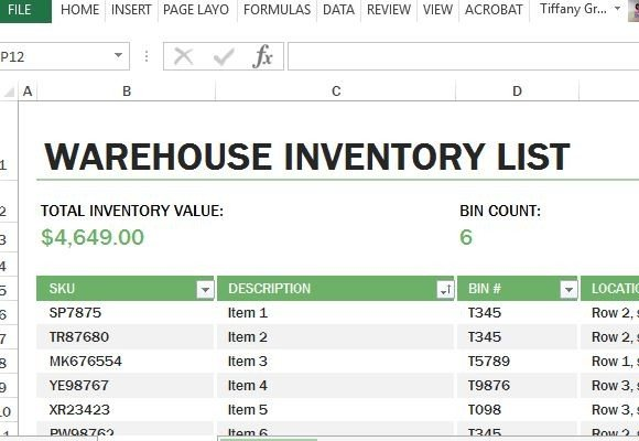 Create An Easy Yet Comprehensive Warehouse Inventory List   Inventory List Form