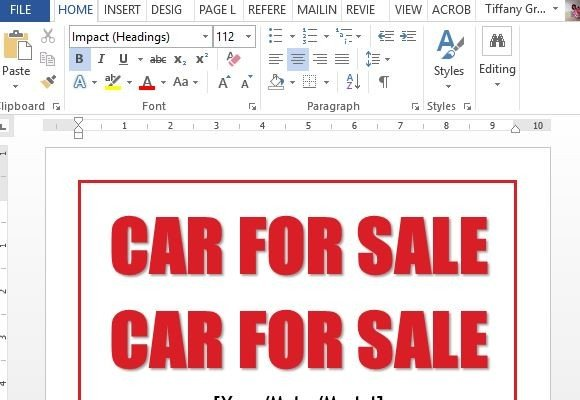 Good Easy To Use Car For Sale Sign Template   Car Sale Sign Template