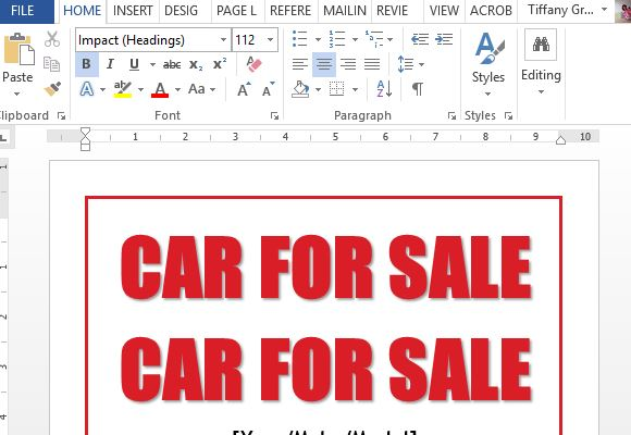 easy to use car for sale sign template for word fppt