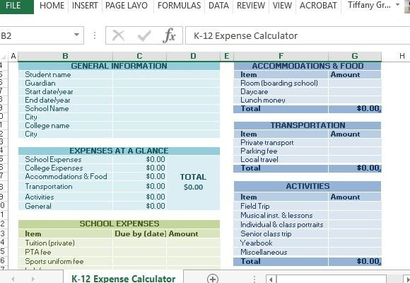 K School Expense Calculator For Excel
