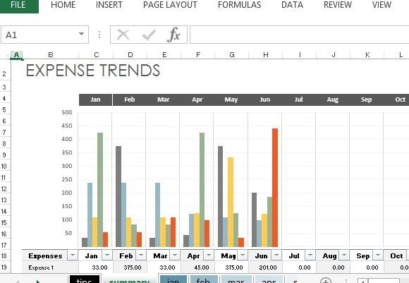 expense trends budget for excel