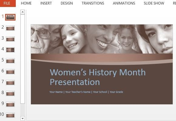 women 39 s history month powerpoint template. Black Bedroom Furniture Sets. Home Design Ideas