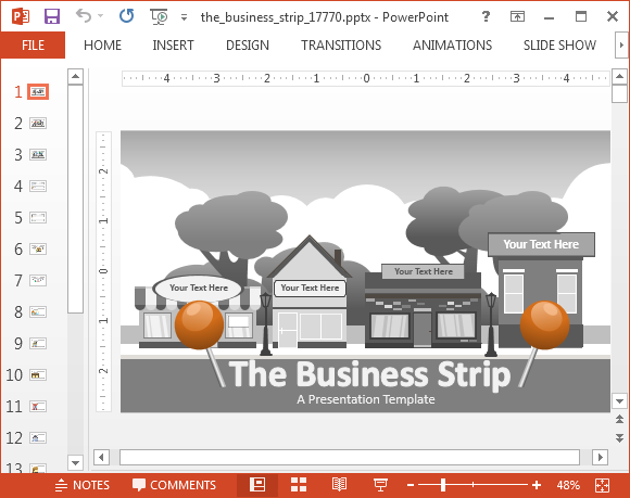 animated business strip powerpoint template, Modern powerpoint