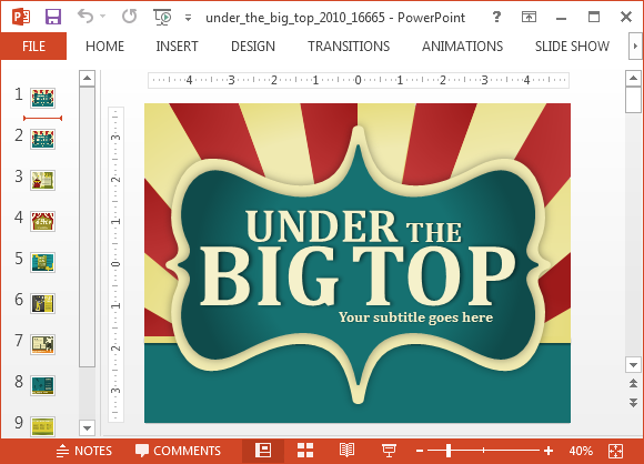 Animated circus powerpoint template toneelgroepblik