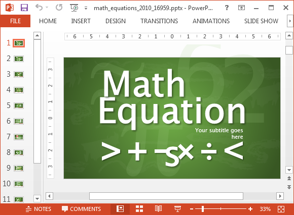 Animated math equations for PowerPoint