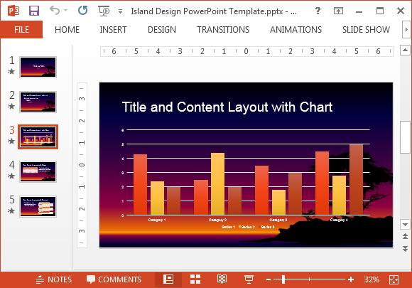 Chart slide with island background