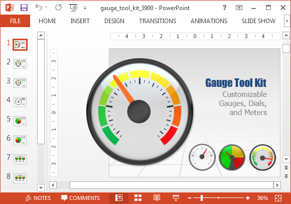 Gauge toolkit for PowerPoint dashboards