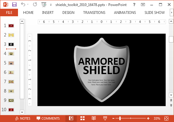 Grey metallic shield design