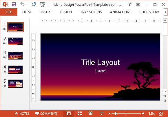 Island design PowerPoint template
