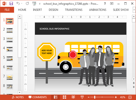 School bus animated powerpoint template school bus powerpoint template toneelgroepblik Choice Image