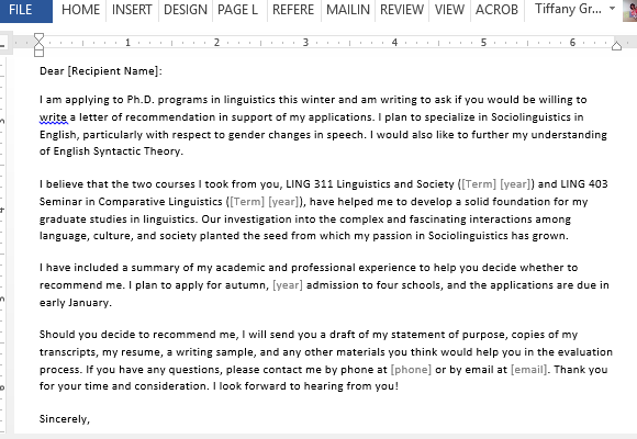 letter requesting graduate school recommendation sample