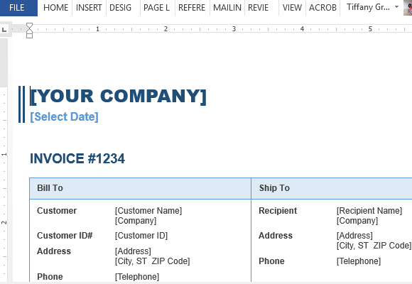 Invoice Template For Word - Generic sales invoice