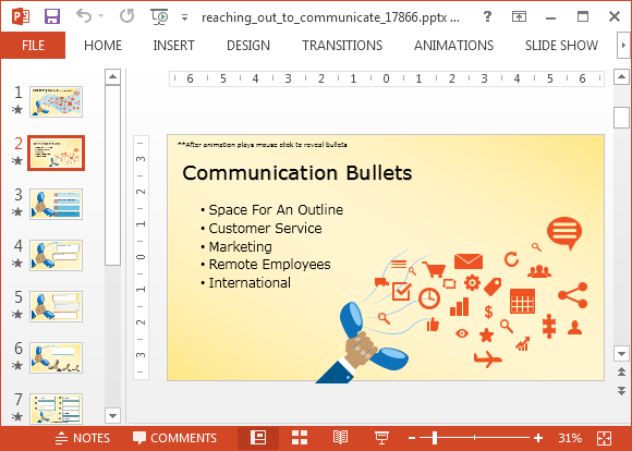 Animated bulleted list for PowerPoint