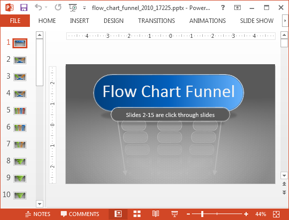 Flowchart template with funnel diagram layouts