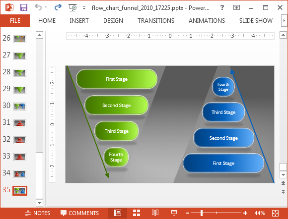 Funnel diagram slides for PowerPoint presentations