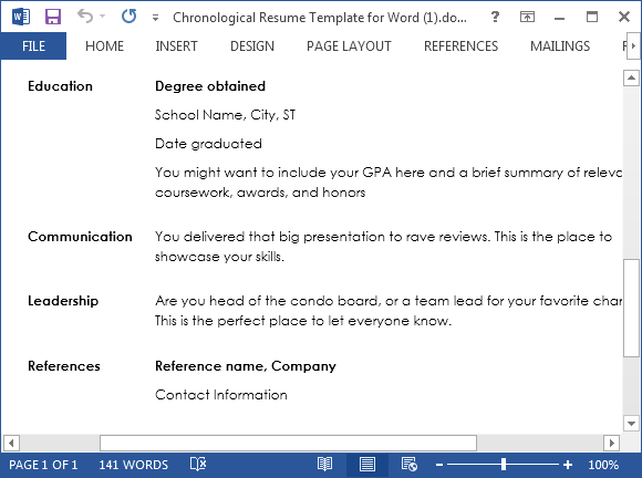 Sample resume for MS Word